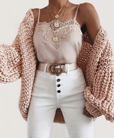 Bubble knit cardigan outfit idea for fall! Casual outfit with a cardigan, lace c. - Bubble knit cardigan outfit idea for fall! Casual outfit with a cardigan, lace cami, and white high - Winter Fashion Outfits, Cute Fashion, Look Fashion, Spring Outfits, Womens Fashion, Fashion Spring, Spring Clothes, Ladies Fashion, Cute Casual Outfits