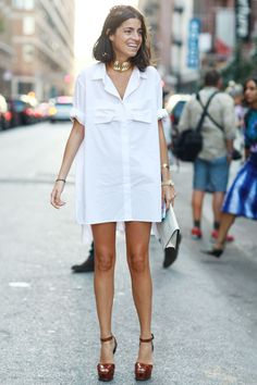 Leandra Medine channeled Tom Cruise's Risky Business days in a white shirtdress.