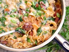 Creamy Spinach & Sausage Pasta - Fast, easy, one skillet!... DELICIOUS. 10/10. I added 1/4 cream cheese at the end to make creamier. Best Pinterest recipe I've tried yet. -CC