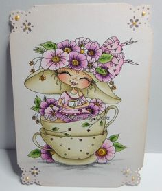 Ooak Card Topper Image Hand Coloured - Sherri Baldy - Teacups and Saucer