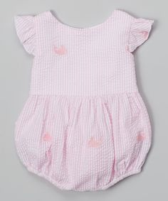 Look at this Pink Stripe Whale Ruffle Bubble Bodysuit - Infant on #zulily today!