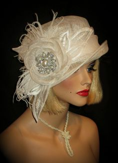 20s CLOCHE  Couture Gatsby Kentucky Derby Hat by AllThatJazzDesign