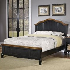 The French Countryside Oak and Rubbed Black Queen Bed