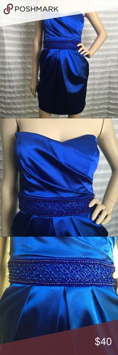 Beaded Waist Stunning Blue Dress 💙 I absolutely love this shade of blue! Gorgeous dress with beaded waist. Best part about it is that it has functional POCKETS!! 😍 Like new condition. Size 1/2. B Darlin Dresses