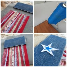 For this patriotic fringe flag, I found this idea at optimistic mommy and this idea on close to your heart etsy shop and made it into one Patriotic Wreath, Patriotic Crafts, Patriotic Party, Patriotic Flags, Fourth Of July Decor, 4th Of July Decorations, Birthday Decorations, July 4th, Snapchat