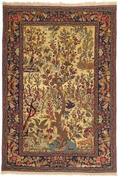 "TEHRAN ""TREE OF LIFE"", North Central Persian 4ft 7in x 6ft 10in Circa 1900"