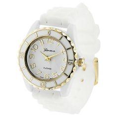 GP Designs Women's White Gold Silicone Watch