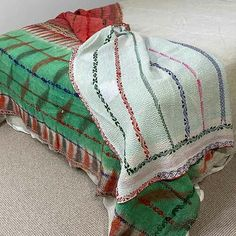This throw's age is evident with a look and feel of something that only time can create. Utilizing around six layers of cotton sari cloth it feels like flannel Bohemian Beach, Vintage Bohemian, Romantic Picnics, Kantha Quilt, Queen Size Bedding, Vintage Textiles, Vintage Cotton, Hand Embroidery, Flannel