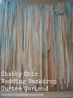 Custom LaRGe ROMANTIC Wedding Garland Backdrop Fabric - Unique, Rustic, Shabby Chic, Shower, Party, Decor, Ribbon, Lace - Any Color Style!