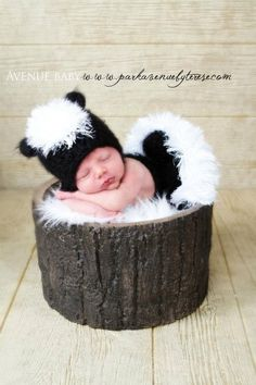 Baby Skunk Hat and Diaper Cover with tail for a newborn
