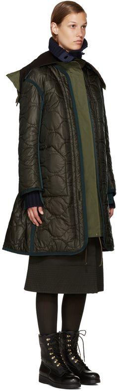 Sacai: Green Long Down Coat | SSENSE