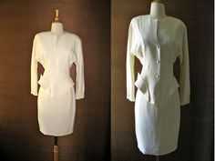 Vintage 1980s Thierry Mugler Ivory/Winter White Futuristic Skirt Suit with Asymmetrical Neckline and Details XS/S As-Is