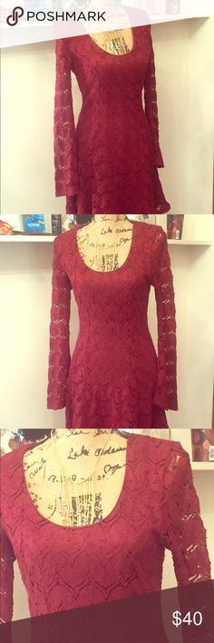 Altar'd State dress Gorgeous Maroon and lace Altar'd State dress. Nice length, and is really flattering on! Size S. never worn! Altar'd State Dresses Long Sleeve