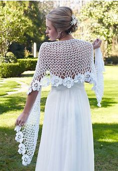 Cover your shoulders for your ceremony with this stunningly beautiful Spring Blooms Crochet Shawl Pattern. This crochet wedding shawl will drop jaws! Crochet Shawl Free, Crochet Gratis, Crochet Diy, Crochet Shawls And Wraps, Crochet Scarves, Crochet Clothes, Crochet Summer, Knit Shawls, Crochet Flower