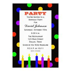 Adult Birthday Party Colorful Candles Invitation