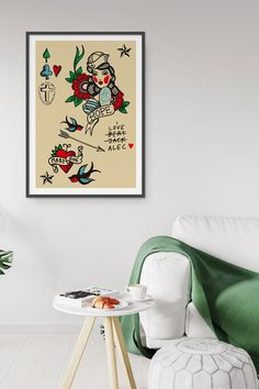 Illustration print by Fluorama inspired by classic tattoo art Tattoo Posters, Classic Tattoo, Love Tattoos, Tattoo Art, Etsy Seller, Gallery Wall, Graphic Design, Art Prints, Wall Art