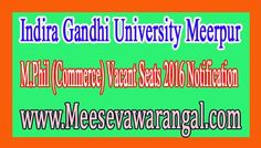 Indira Gandhi University Meerpur M.Phil (Commerce) Vacant Seats 2016 Notification