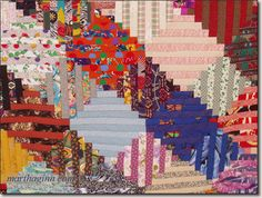 """""""Japanese Lanterns"""" by Martha Ginn:  Courthouse Steps executed in alternating pairs of fabric, creating a streak-of-lightning set."""
