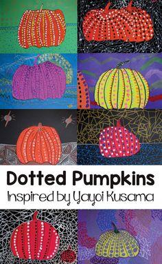 Elementary art lesson plans - Yayoi Kusama Dotted Pumpkins for Kids – Elementary art lesson plans Halloween Art Projects, Fall Art Projects, School Art Projects, Halloween Ideas, Art Lessons For Kids, Art For Kids, Kindergarten Fall Art Lessons, Preschool Art Lessons, Kid Art