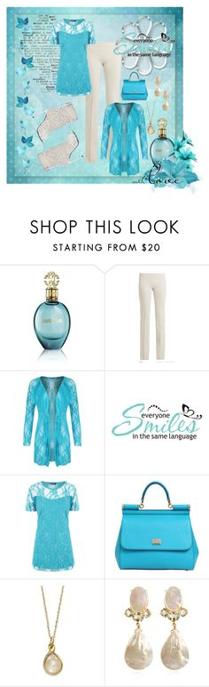 """""""Creamy Turquoise"""" by caili ❤ liked on Polyvore featuring Roberto Cavalli, Ryan Roche, WearAll, WALL, Dolce&Gabbana, Sergio Rossi, Bounkit and beautifulprints"""