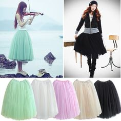 New Women Fashion Princess Fairy Style 5 layers Tulle Dress Bouffant Skirt 4 Colors