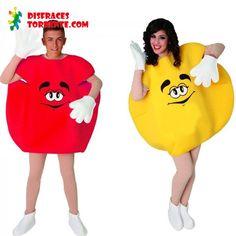 Disfraces de Caramelo M&M en pareja rojo y amarillo. Los simpáticos disfraces de caramelo ahora en pack, uno rojo y otro amarillo como los originales emanems.