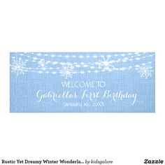 Shop Rustic Yet Dreamy Winter Wonderland First Birthday Banner created by kidsgalore. First Birthday Banners, First Birthday Parties, First Birthdays, Personalized Banners, Winter Onederland, Outdoor Banners, Rustic Design, String Lights, Textured Background