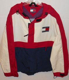 Vintage 90s Tommy Hilfiger Logo Fleece Hooded Pullover XL Jacket 1/2 Zip Anorak #TommyHilfiger #BasicJacket