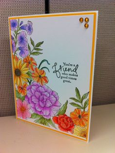 Beautifully coloured Stampin Up Corner Garden card (done by my friend, Linda Riley) :-) Corner Garden, Friendship Cards, Cards For Friends, Tampons, Summer Crafts, Flower Cards, Cool Cards, Homemade Cards, Stampin Up Cards