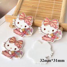 50pcs 32*31MM Kawaii Kitten Cat Flatback Resin Cartoon Character Planar Resin DIY Craft For Home Decoration Accessories DL-727