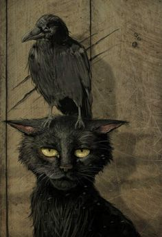 """the raven and the cat (small raven that is. or perhaps the artist is one of those who thinks """"raven"""" and """"crow"""" are synonymous. Pinterest Arte, Animal Gato, Arte Obscura, Illustration Art, Illustrations, Crows Ravens, Halloween Art, Halloween Humor, Halloween Tattoo"""