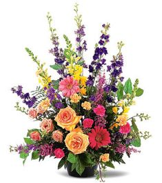 Assorted colors sympathy floral arrangement is the perfect choice for a memorial service or funeral service. We at Flowers on First Ave in Vancouver offer daily delivery of funeral flowers to all areas of the city and all suburbs. Large Flower Arrangements, Funeral Flower Arrangements, Floral Arrangement, Church Flowers, Funeral Flowers, Wood Flowers, Silk Flowers, Funeral Sprays, Casket Sprays