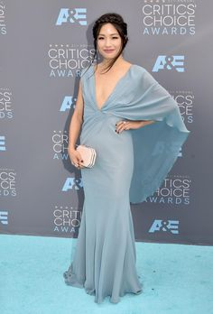 """Taiwanese American actress Constance Wu, known for her role on the ABC comedy """"Fresh Off the Boat"""" looked lovely in pale blue as she arrived to the 21st Annual Critics' Choice Awards on Jan. 17, 2016. Constance has been nominated for Best Actress in a Comedy for her role in the series."""