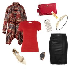 """Red, Black, and Gold"" by mikaylaxxrayann ❤ liked on Polyvore featuring American Eagle Outfitters, HUGO, Steve Madden, Skagen, Coach, Burt's Bees, Michael Kors, Charlotte Russe, casual and gold"