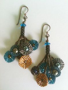 Earrings:  Klimt Style Multi-Color Circles Blue, Gold, Brown Black & Gray with Swarovski Pearls, Hand Made, One of a Kind, OOAK