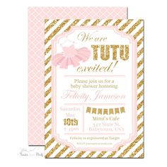 Pink and Gold Tutu Baby Shower Invitation -TB003