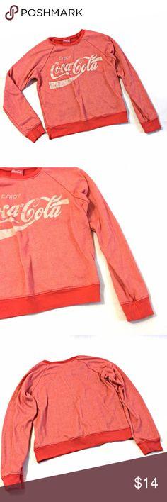 "Forever 21 Junior's SZ S Coca-Cola Sweatshirt Forever 21  Women's SZ S  red Sweatshirt  Faded-look Long Sleeve  Enjoy Coco Cola Graphic  Cotton blend Length: 21""  Armpit to armpit: 18.5 Forever 21 Tops Sweatshirts & Hoodies"