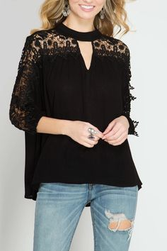 3/4 SLEEVE TOP WITH LACE YOKE AND HIGH NECK.  LOVE WITH DARK DENIM NOW AND WHITE DENIM LATER! Lace High-Neck Top  by She  Sky. Clothing - Tops Ohio