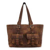 Weathered leather handbag, 'Honey Sierra'