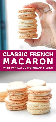 Every bite of this sweet, classic french macaron with vanilla buttercream filling is melt-in-your-mouth goodness. - The ingredients and how to make it please visit the website Best Easy Dessert Recipes, Dessert Recipes With Pictures, Quick Easy Desserts, Easy Cookie Recipes, Simple Recipes, Sweets Recipes, Recipes Dinner, Delicious Desserts, Easy Sweets