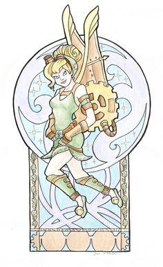 Steampunk Tinkerbell Nouveau Small Print Item by khallion on Etsy Disney Fan Art, Disney Style, Disney Love, Disney Magic, Disney Disney, Peter Pan And Tinkerbell, Peter Pan Disney, Tinker Bell, Disney Kunst