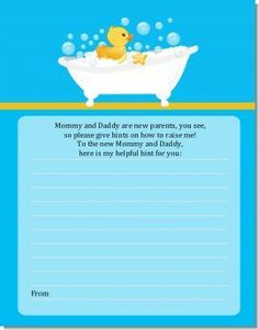 Duck - Baby Shower Notes of Advice