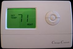"""Landlord Thermostat Limits Heat to 71 degrees and A/C to 76 degrees completely tamper proof thermostat by Chicago. $64.99. Limits the heat to 71 and the A/C to 76. Our HC7176 residential thermostat is extremely versatile. It is compatable with almost any residential system! It can operate on 2, 3, 4, 5, or 6 wire systems and it does not require a """"common"""" connection! Typical 24V thermostat as found on almost all residential HVAC systems. Typical installation in about 5 minutes..."""