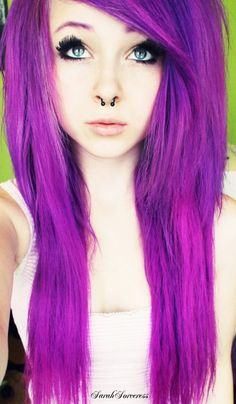 Purple and black emo girls with hair