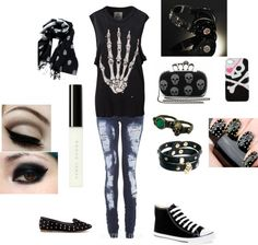Emo outfits / scene / girl / skull / black and white / converse Cute Emo Outfits, Scene Outfits, Punk Outfits, Skull Outfits, 5sos Outfits, Batman Outfits, Tomboy Outfits, Modest Outfits, Emo Mode