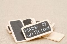 mini chalk boards for packaging - set of 5. $8.00, via Etsy.