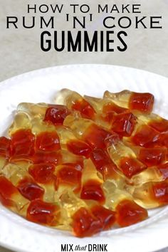 Rum 'n' Coke Gummies are a delicious and fun twist on vodka gummy bears. These cola flavored gummies soaked in rum actually taste a Rum 'n' Coke. They make a great treat for parties, or hostess gifts. Drunk Gummy Bears, Alcohol Gummy Bears, Alcohol Candy, Alcohol Soaked Fruit, Gummy Bear Drink, Jello Shot Recipes, Alcohol Drink Recipes, Candy Recipes, Jello Shots