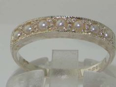 English Solid 9K White Gold Genuine Natural Pearl Eternity Band Ring - Made in England - Supplied in Your Finger Size