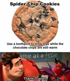 Funny pictures about Spider cookies. Oh, and cool pics about Spider cookies. Also, Spider cookies. Spider Cookies, Chip Cookies, Raisin Cookies, Stupid Funny, Funny Jokes, Funny Stuff, Funny Pranks, Funny Commercials, That's Hilarious