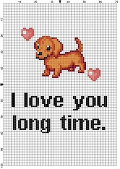 I love you long time - Weiner dog Funny Snarky Cross Stitch Pattern - Instant… Mini Cross Stitch, Cross Stitch Alphabet, Cross Stitch Charts, Modern Cross Stitch Patterns, Cross Stitch Designs, Cross Stitching, Cross Stitch Embroidery, Puppy Crafts, Crochet Cross